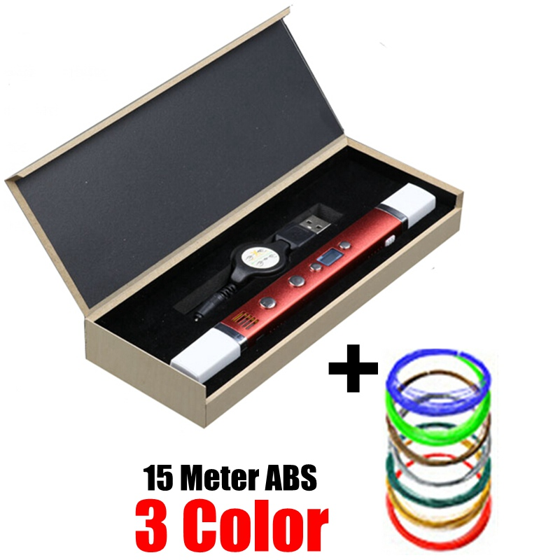 5V2A USB Charging Power Bank 3D Pen 3rd Generation multi function Magic 3D Pens 1.75mm ABS PLA Filament Best Gift For Kids – Red