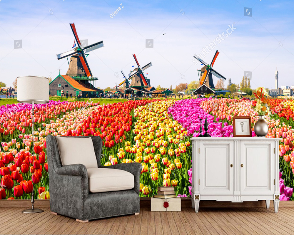 Custom landscape wallpaper, Dutch windmill and tulip murals for living room bedroom sofa TV backdrop wall decor wallpaper free shipping custom murals worn coloured wood wall mural bedroom living room tv backdrop wallpaper