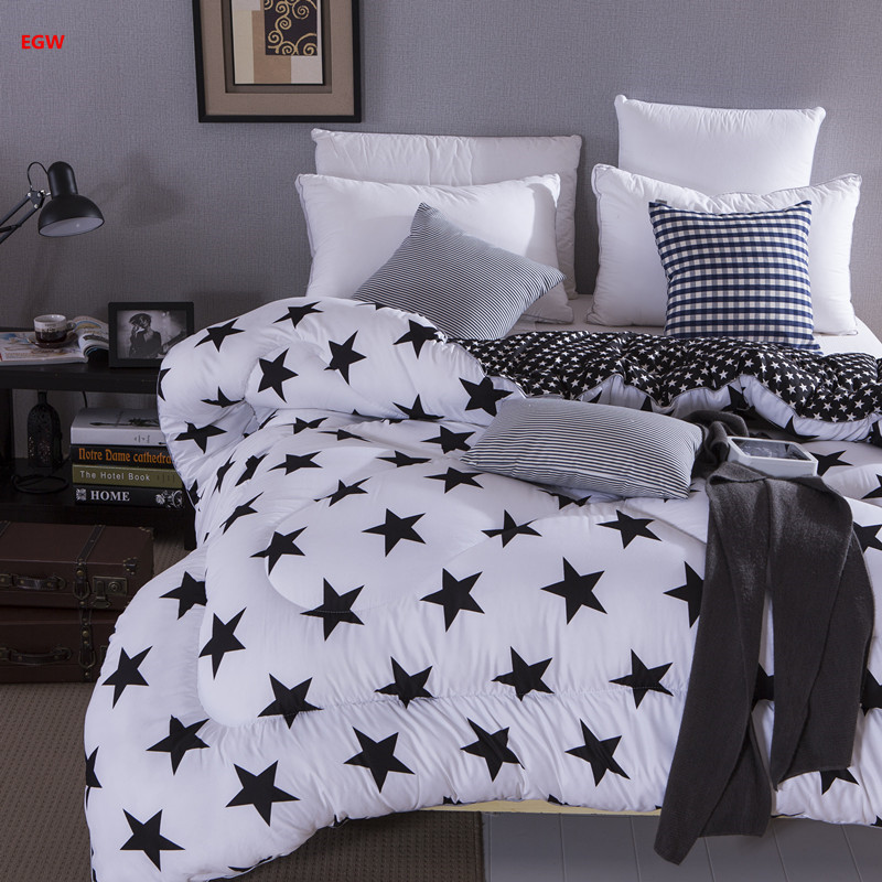 Winter Comforter Classic Black And White Star Quilt