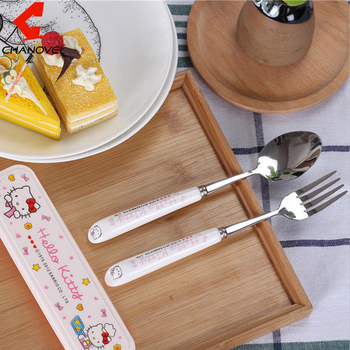 Outdoor Travel Dinnerware Kit Hello kitty tableware with box Cartoon Stainless steel Cutlery kit baby Dinnerware Sets gift