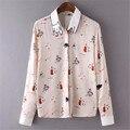 Chegadas de Moda de nova Camisa Blusa Mulheres Casual Animal Blusas Camisas Femininas Camisa Do Vintage Blusa Bonito Mulheres Blusas # Z82