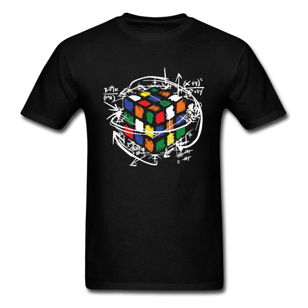 Men's Tshirts Rainbow Rubik Cube Math The Big Bang Theory Graphic T Shirt Sheldon Cooper Program Value Design Cotton Tshirt