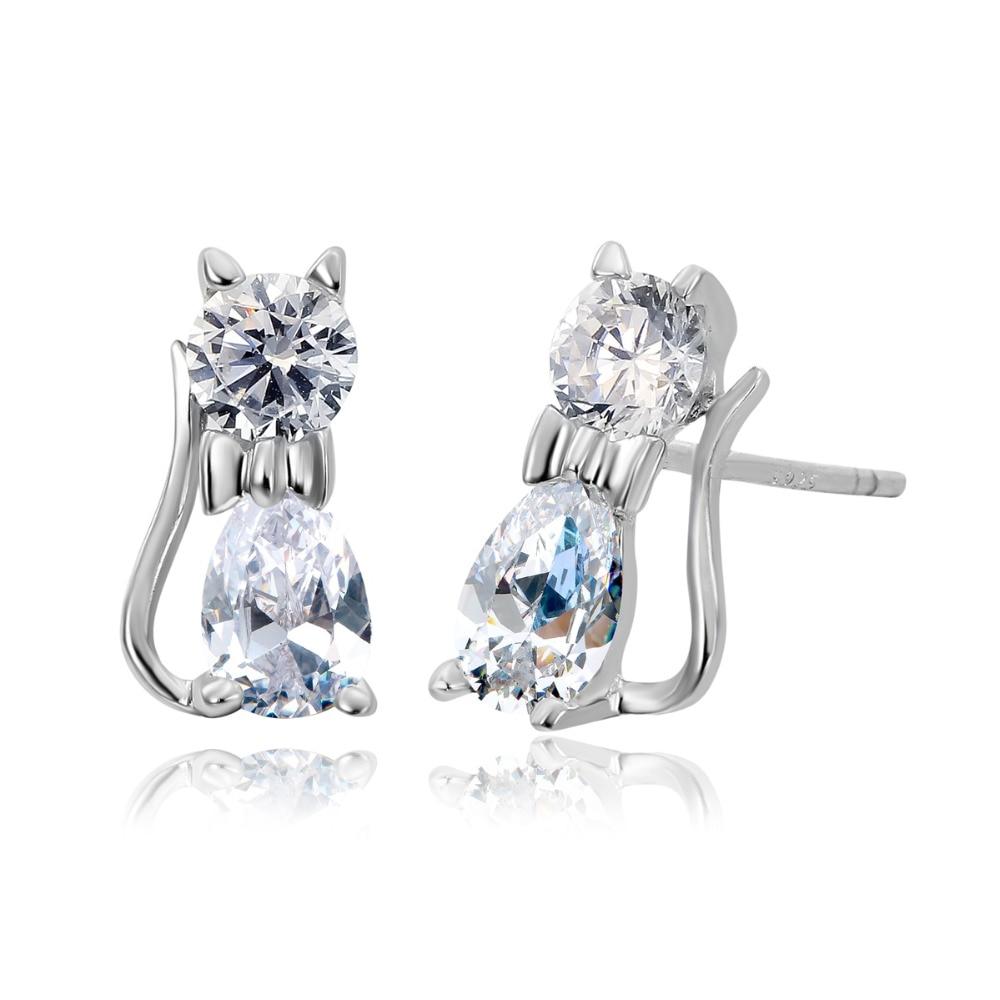 925 Sterling Silver Cute Kittens Kitty Cat Cz Stud Earrings For Children  Girls Baby Kids Jewelry