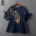 spring summer runway designer womens tops dark blue white cotton t-shirt beading fish pattern high quality plus size brand shirt