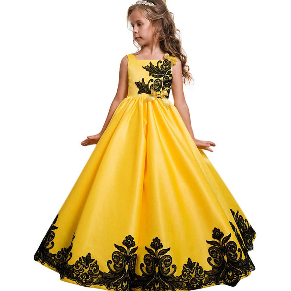 Платья с цветочным узором вечерние праздничное свадебное платье, детское платье подружки невесты, платье принцессы для девочек-подростков, одежда для детей 4, 6, 8, 10, 12, 14 лет