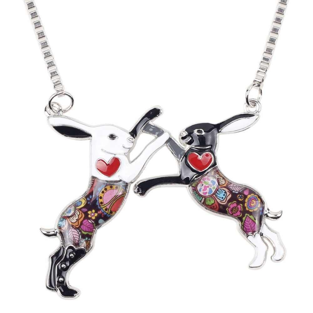 Bonsny Laporan Enamel Alloy Kelinci Kelinci Rantai Kalung Liontin Kerah Kalung Fashion Hewan Perhiasan untuk Wanita Gadis Hadiah Baru