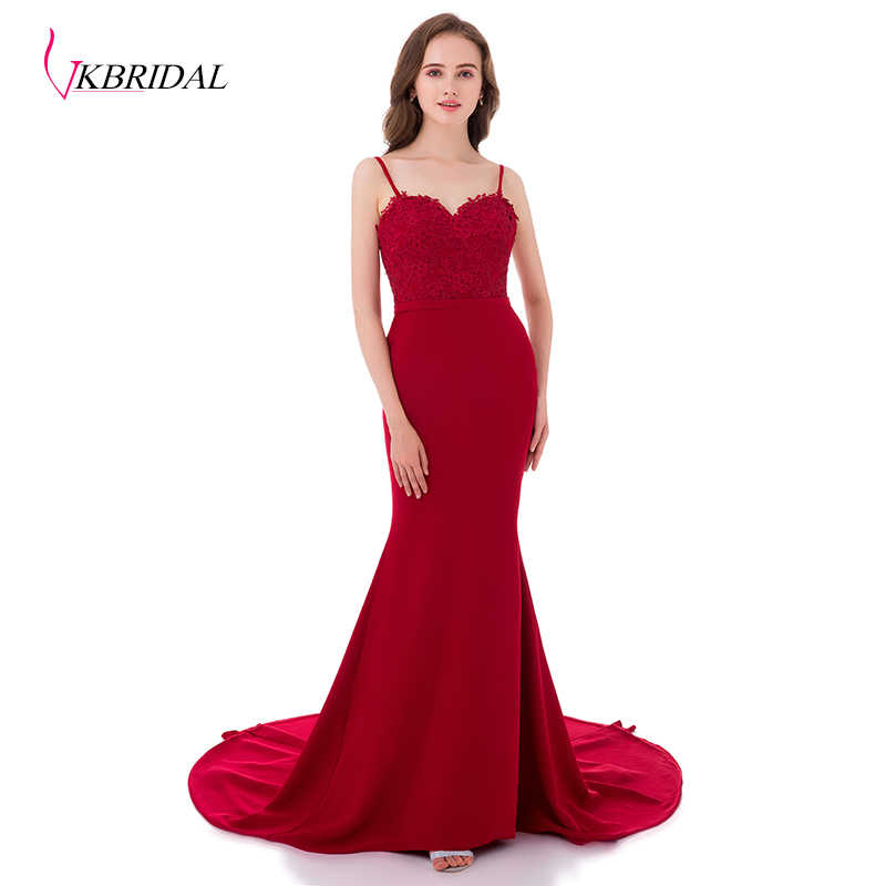 a1a2bb15d55 VKBRIDAL Elegant Spaghetti Burgundy Lace Long Mermaid Bridesmaid Dresses  Chapel Train Open Back Formal Party Gowns