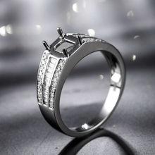 Fine Jewelry 14K White Gold Diamond Wedding Set Rings Emerald Cut 5x7mm For Women SR047