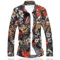 Высокое качество мужские рубашки цветочные М-7XL красный orange camisa социальной masculina slim fit camisas hombre vestir сорочка homme C680