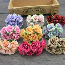 6 pcs/ lot cheap Mini Silk Daisy Artificial Rose Flowers Bouquet DIY Wedding Decoration Paper Flower For Scrapbooking