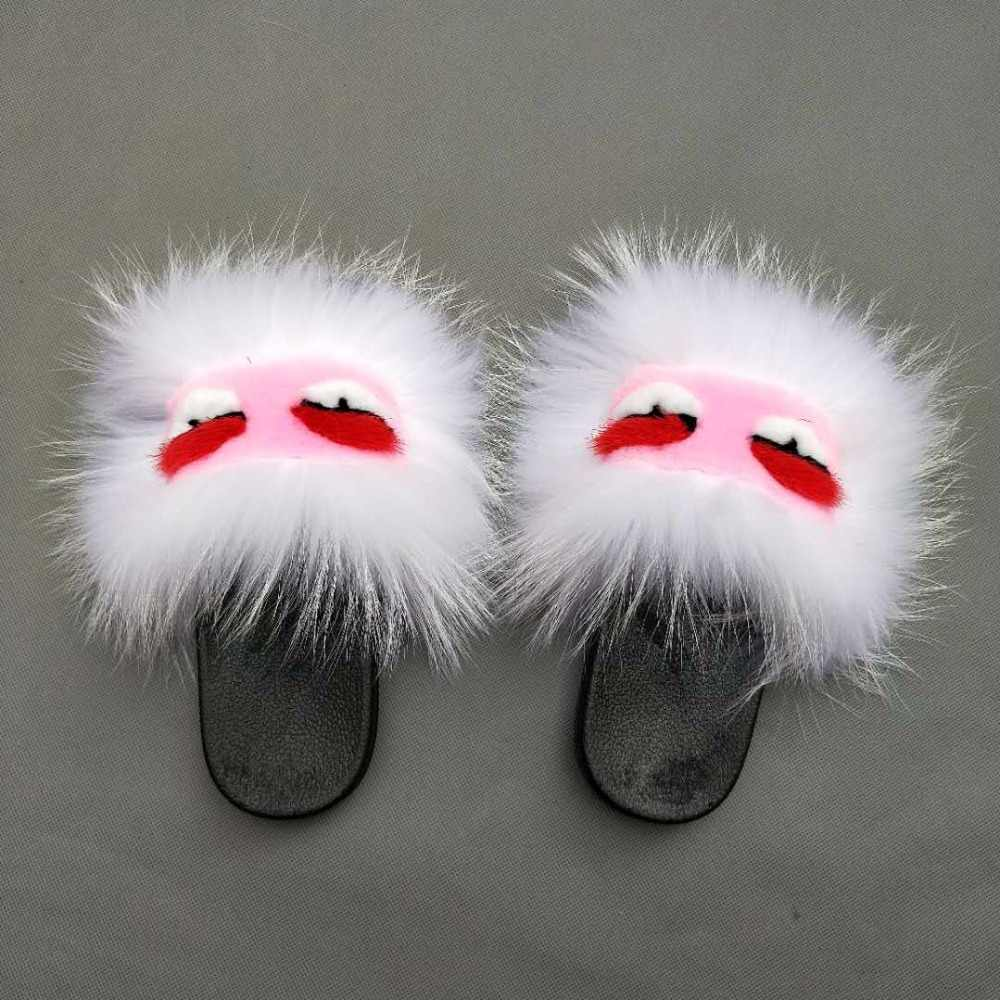 b295d202f5172 Wholesale Custom Design Women soft Fur Slides With Real fluffy Fox Fur  Slippers for Summer Fur Sandals sexy Lady