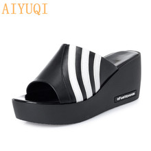 AIYUQI Women slippers platform 2019 new sandals women genuine leather wedges shoes mixed colors high heels slip