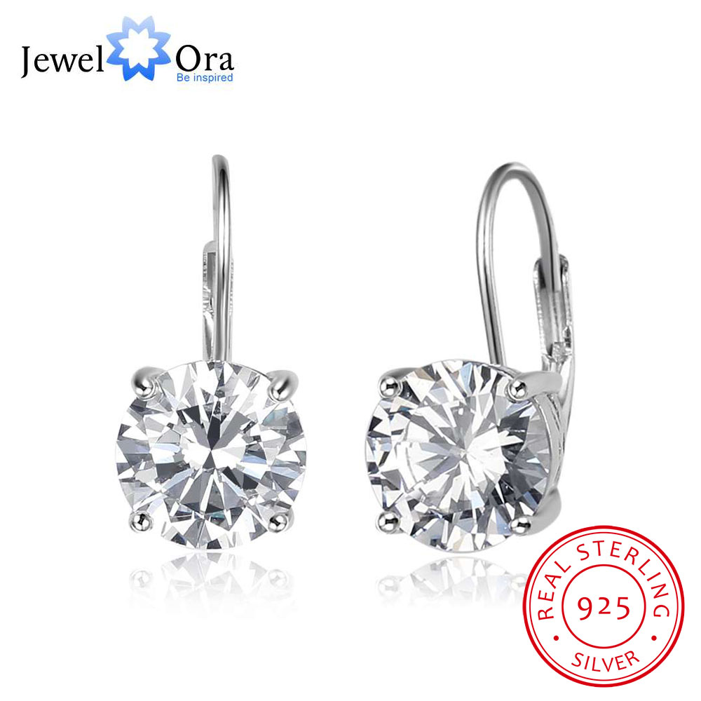 8mm Cubic Zirconia Solid 925 Sterling Silver Hoop Earrings For Women Romantic Style Jewelry Gift For Friend (Jewelora EA102020) colorful cubic zirconia hoop earring fashion jewelry for women multi color stone aaa cz circle hoop earrings for party jewelry