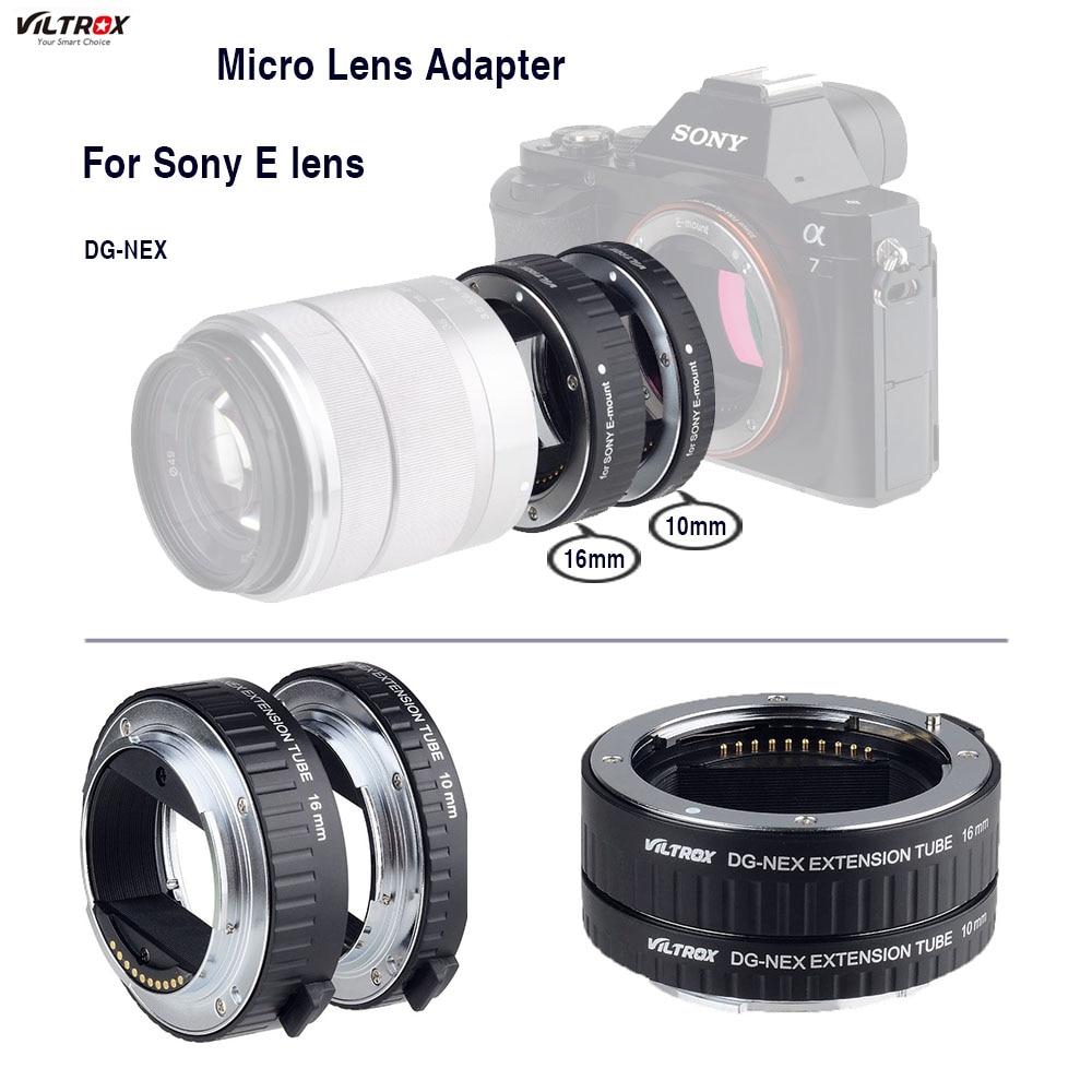 Pour Sony Micro Lentille Adaptateur Viltrox DG-NEX Macro Extension Tube Pour Sony E Mont Caméra A7II A7RII A7SII NEX-7 NEX-6 NEX-5R N-5T
