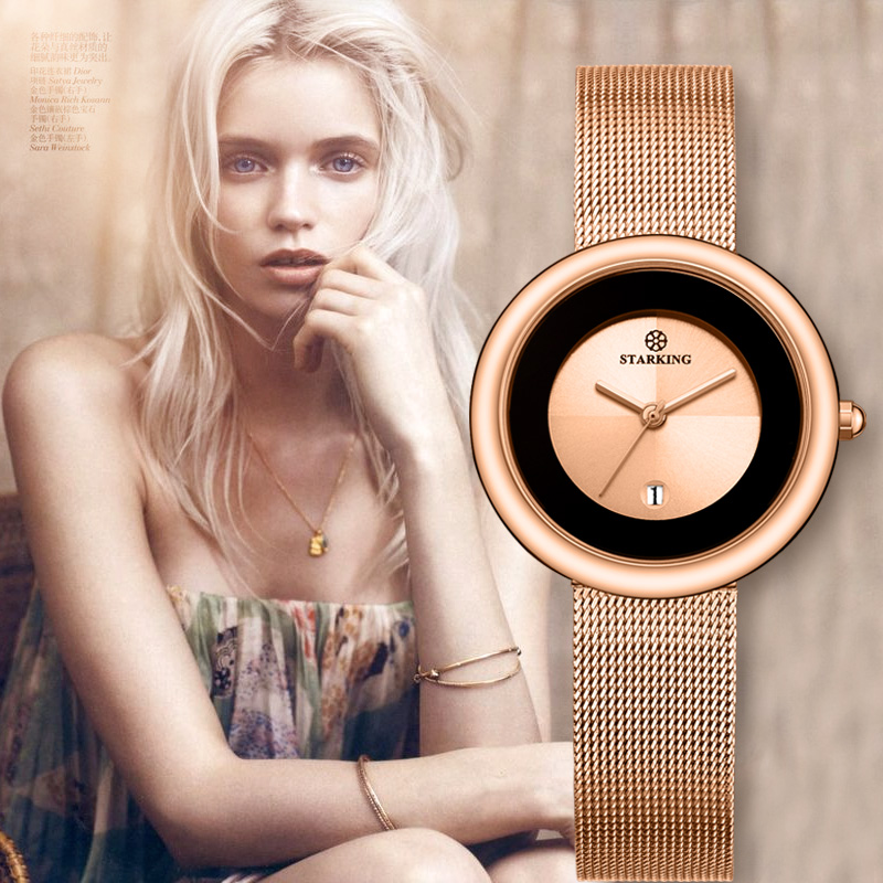 New Fashion STARKING Luxury Brand Quartz Watch Women Casual Rose Gold Bracelet Watches Wristwatches female Business clock hours luxury brand new silver watch women fashion quartz wristwatches butterfly rose dial watches women dress quartz watch clock