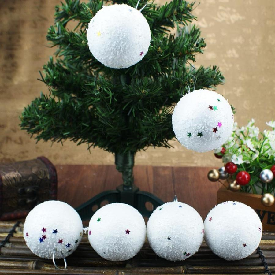 2018 Christmas 6Pcs/Pack 4/6cm Christmas Snowball Foam Balls Party Ornaments Xmas Tree Hanging party wedding ornaments DEC1