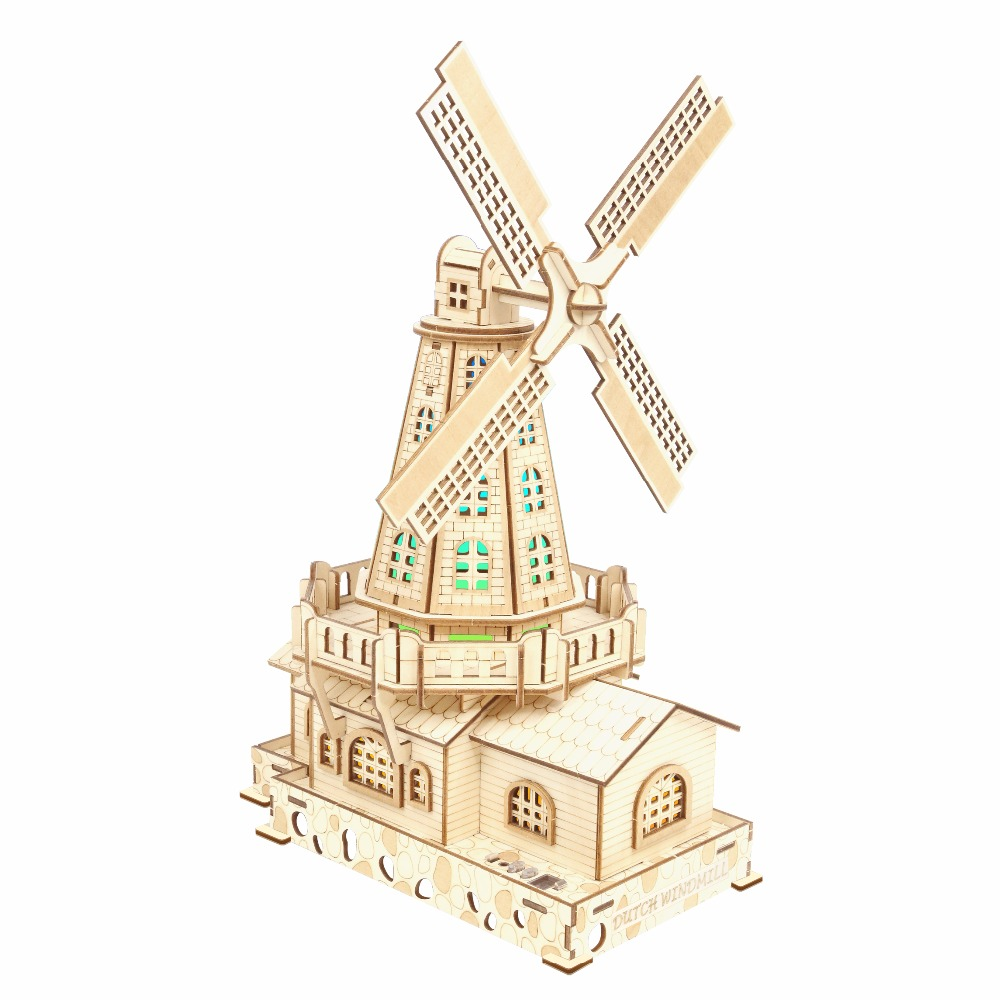 Dutch windmill atmosphere night light Kids toys 3D Puzzle wooden toys Wooden Puzzle Educational toys for Children verrypuzzle clover octahedron magic cube speed twisty puzzle cubes game educational toys for kids children