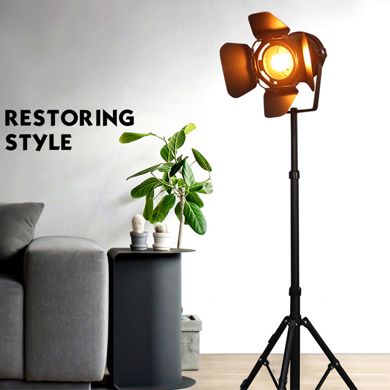 E27 LED retro tripod single head floor lamp black wrought iron retro floor lamp for dining