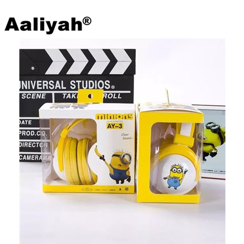 Aaliyah Microphone Minions Headband Headset Cute Cartoon Yellow Headphone for Kids Stereo Earphone For Samsung Xiaomi 3.5mm Plug