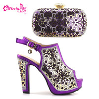 New Arrival African Wedding Shoes and Bag Set Purple Color Italian Shoes with Matching Bags Nigerian Women Wedding Shoes and Bag