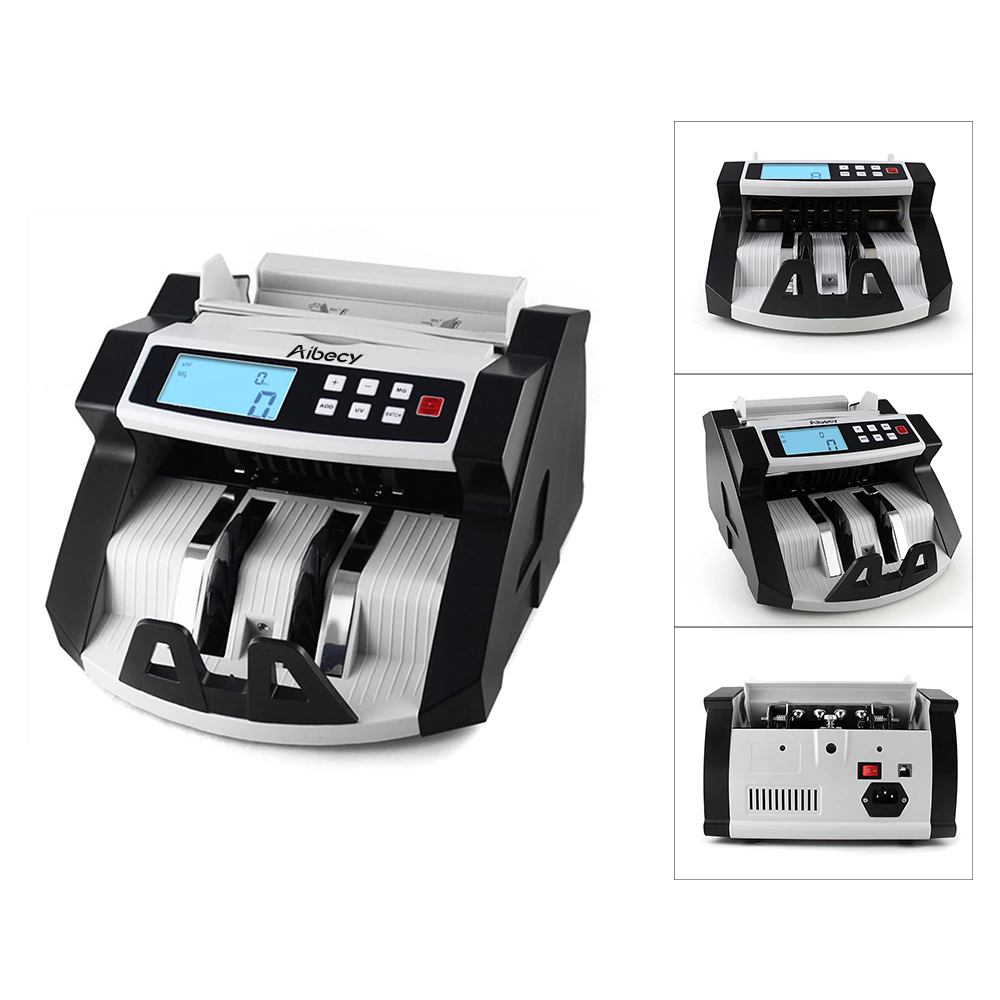 Aibecy Automatic Multi Currency Cash Banknote Money Bill Counter Counting Machine LCD Display with UV MG Counterfeit Detector-in Money Counter/Detector from Computer & Office    3