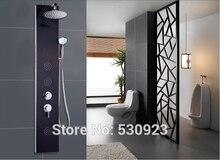 Недавно сша бесплатная доставка черный стали матовый ванная комната душевая колонна многофункциональный душ панель гидромассажем ж / ABS ручной душ