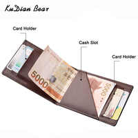 KUDIAN BEAR Minimalist Men Wallet Vintage Leather Portfolio Wallet and Purse for Male Slim Clamps Carteira Masculina BID235 PM49