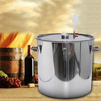 Home Brew Beer Wine Fermentation Fermenter Barrel Stainless Steel with Thermometer Pot Cover Exhaust Valve 12/36/50/70/100L