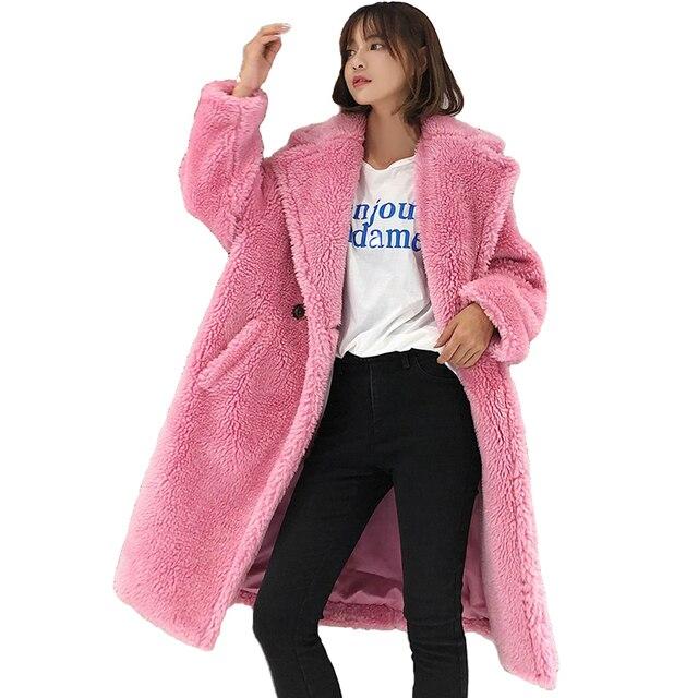 Faux Fur coat women 2018 winter Thick warm Lamb Fur jacket Plus size female Woolen coat Casual tops long Hairy Fur coats N269
