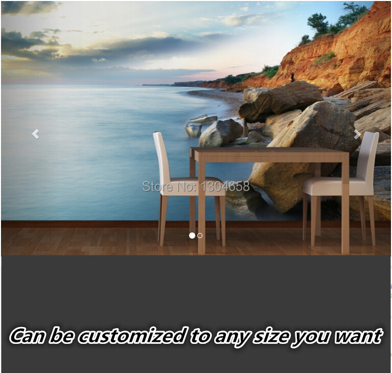 Free shipping custom 3D large mural living room sofa bedroom TV backdrop wallpaper corridor Rocky Shoreline Beach Wall Murals pegasus tianm genuine original 3 5 inch lcd screen tm035kvhg01
