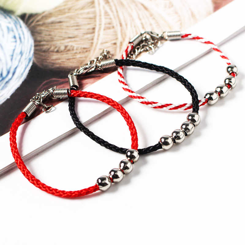 4pcs/bag Charms Handmade Rope Bracelets for Women Men Children Lucky Red String Beads Cotton Bracelets Jewelry Gift Adjustable