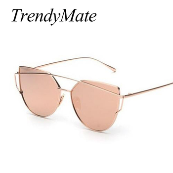 Hot 2017 New Cat Eye Sunglasses Women Brand Designer Fashion Twin-Beams Rose Gold Mirror Cateye Sun Glasses For Female UV400 195 5