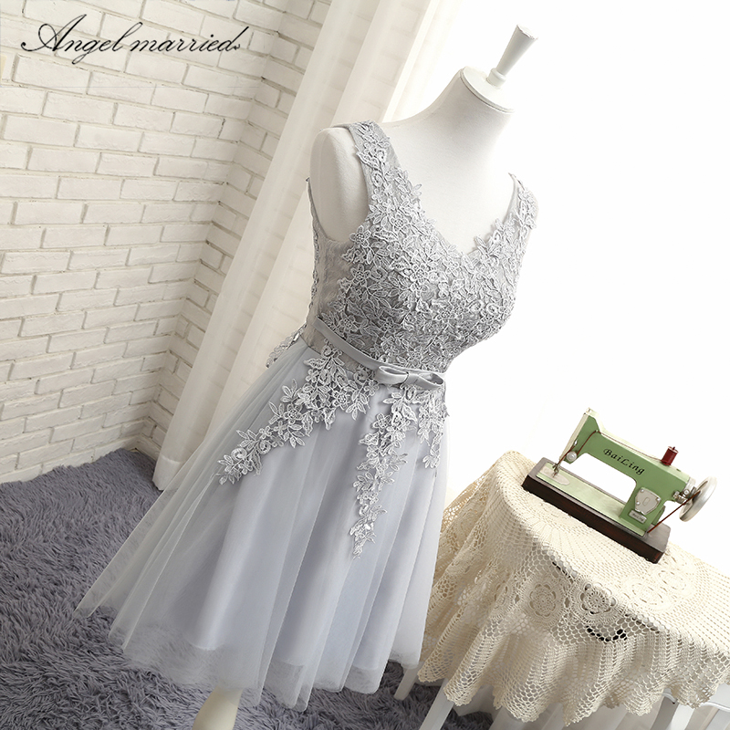 Angel married simple bridesmaid dresses v neck appliques lace junior  wedding guest gown wedding party dress vestido de festa -in Bridesmaid  Dresses from ... 5f5ef4def4d7