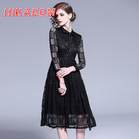 Hook See Through Dress White With Inner Wholesale New Women's White Lace Black Slim Large Swing Sexy Pleated Dresses Woman Price