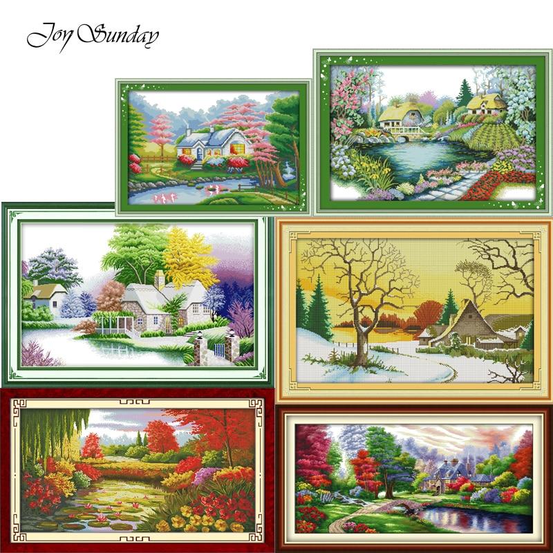 Joy Sunday,Beautiful homeland,Needlework Sets,DIY Landscape Painting Cross stitch pictures,embroidery cross landscape,
