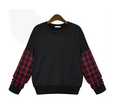 Plus Size L-5XL 2016 Autumn Winter Stitching Loose Plaid Long-sleeved Hedging Fashion Plaid Fleece Sweatshirts Black Gary Sz1484