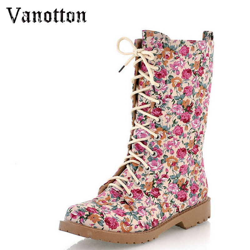 Canvas Floral Print Motorcycle Boots Fashion Lace up Ankle Boots Round Toe Women s Casual Flat