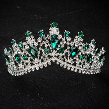 лучшая цена KMVEXO European Design Crystal Big Princess Queen Crowns Marriage Bridal Wedding Hair Accessories Jewelry Bride Tiaras Headbands
