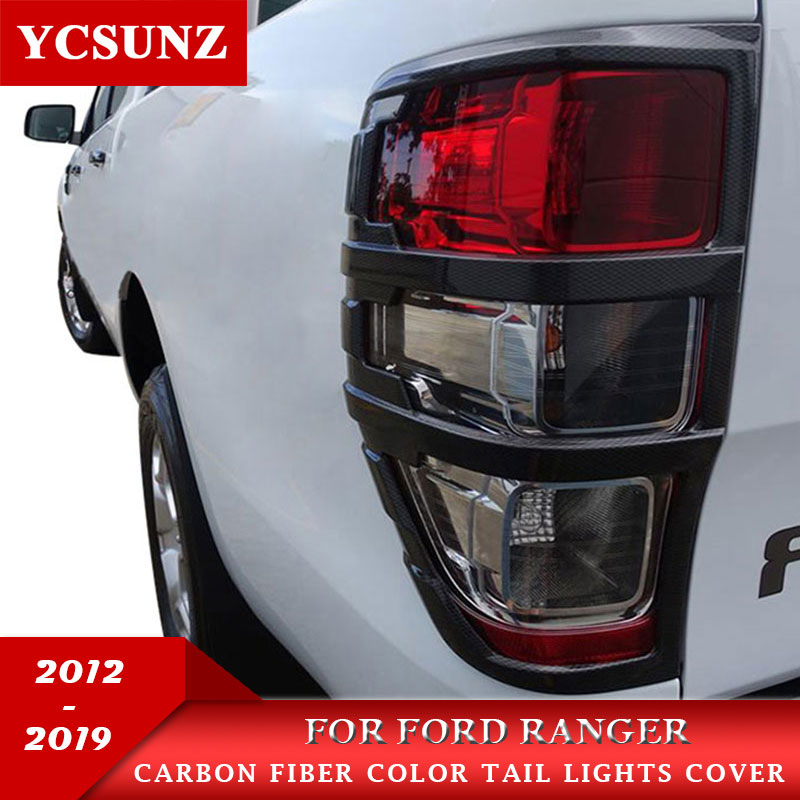 Carbon Fiber Color Tail Lights Cover For Ford Ranger T6 T7 Bt8 2012-2019 Wildtrak