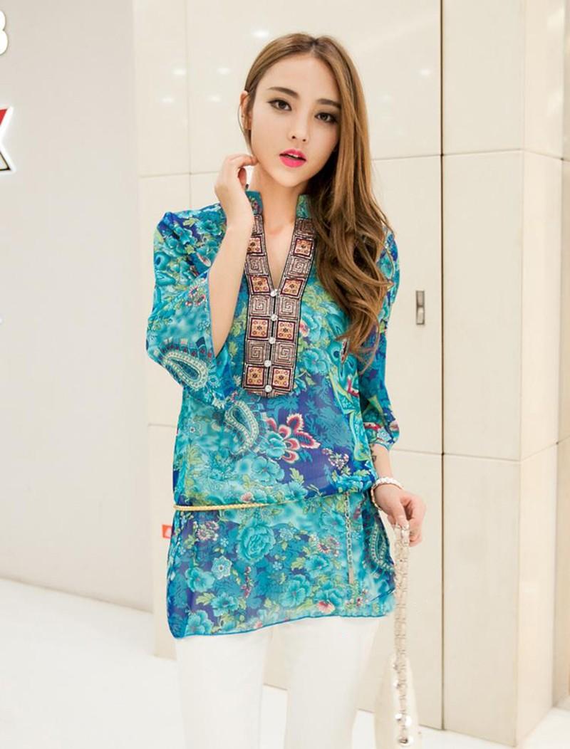 2017 new fashion kobiety bluzka koszula lato w stylu kobiety vestidos szyfonowa Mini Suknia Plus rozmiar 4XL floral Casual Topy Blusas Mujer 9