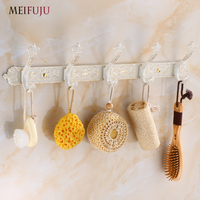 MEIFUJU Robe Hooks White Gold Color Wall Mounted Clothes Hat Hook Row Elegant Robe Hook Bathroom Accessories Bath Hardware Set