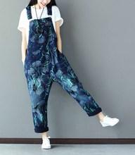New Loose Women Pocket Print Sleeveless Rompers Jeans Casual Wide Waist Wide Leg Denim Jumpsuit