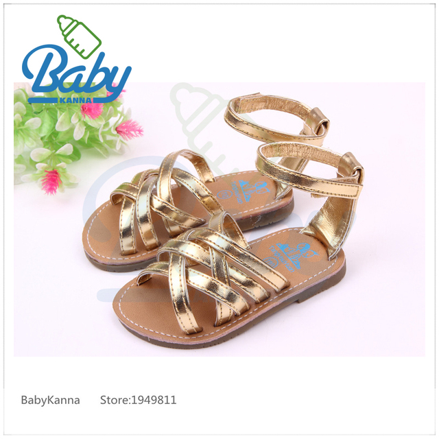 2017 Cross-tied Newborn Baby Sandals/Clogs Flat With Hook&Loop Infant Shoes Soft Soles Cow Muscle PU Leather Gold/Silver 11-13cm