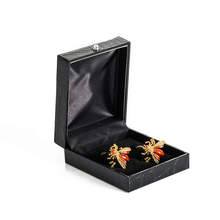High Quality Men's Cufflink Funny lovely Bee Silver Plating Wedding Cuff link 517 with box(China)
