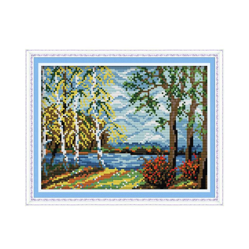 oy Sunday Cross stitch suit handmade diy, bridge birch forest beautiful countryside landscape embroidery decorative gifts
