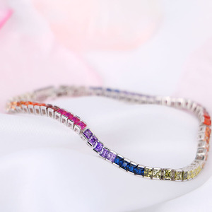 Image 5 - High Quality S925 Sterling Silver Bracelet Square Crystal CZ Gay Pride Rainbow Magnetic LGBT Charms Bracelet Wholesale
