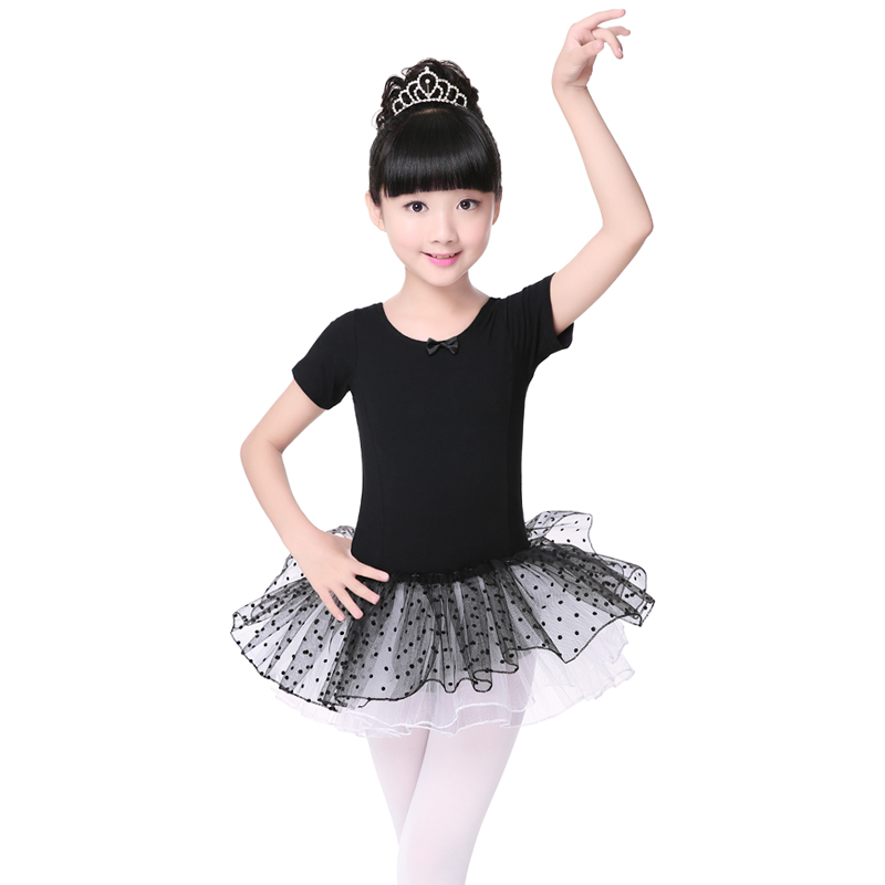 1240bb8cb9818 الأسود التجزئة الفتيات الاطفال قصيرة الأكمام الملابس الباليه توتو الرقص  اللباس يوتار جميل حزب ملابس رقص مشاهدة 3-8Ages الرقص فساتين