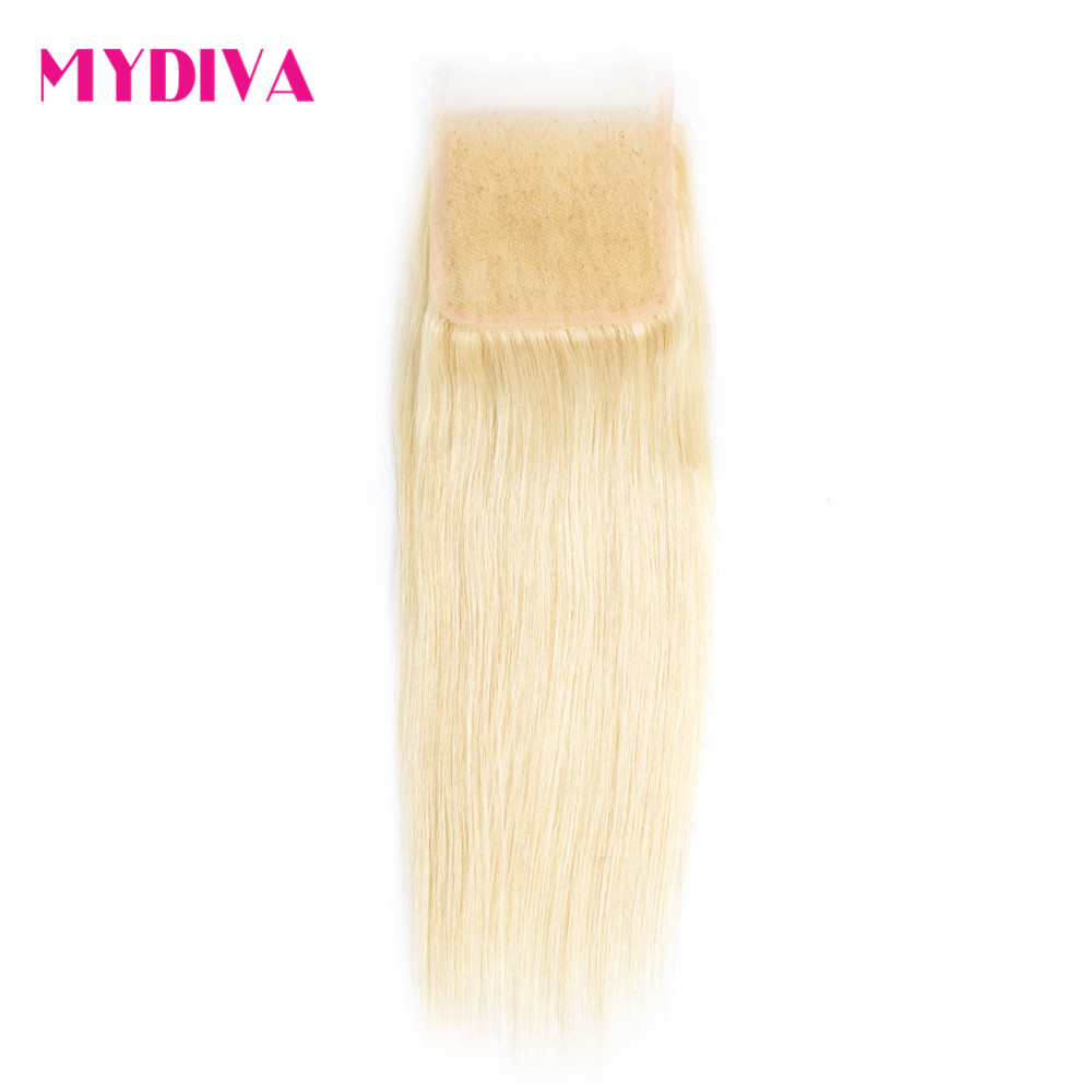 613 Blonde Lace Closure Brazilian Straight 4x4 Remy Human Hair Closure Swiss Lace Free Part Bleached Knots With Baby Hair Mydiva