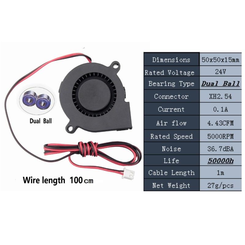 Gdstime 1 шт. двойной шариковый подшипник 12 В 24 В DC вентилятор охлаждения 3D вентилятор для принтера кулер 50 мм x 15 мм 5015 5 см 50x50x15 мм 1 метр провода - Цвет лезвия: 24V