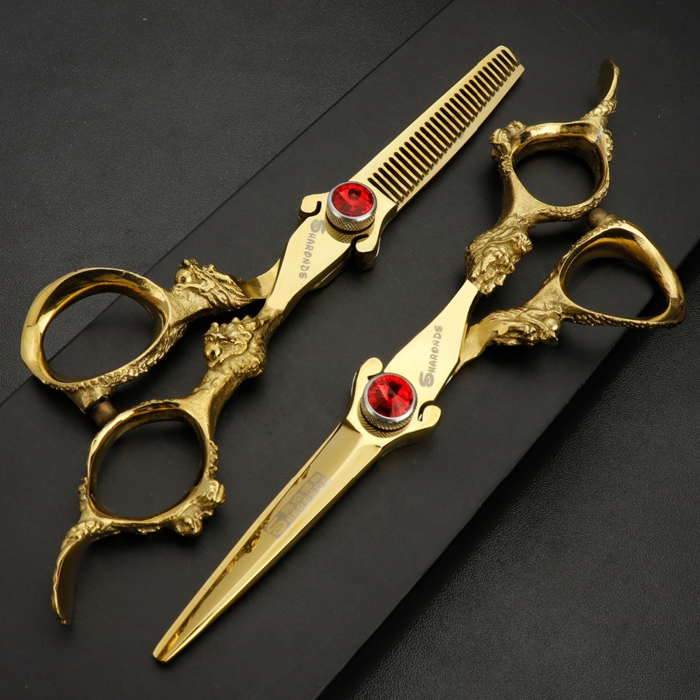 5.5/6 Inch Hairdressing Barber Hair Scissors Professional High Quality Barbershop Haircut Cutting Shears Thinning 440c Gold